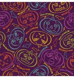 background with Halloween pumpkins vector image