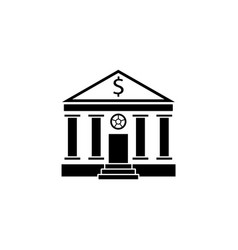 bank building solid icon banking house vector image