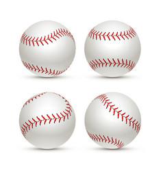 baseball ball isolated white icon softball set vector image