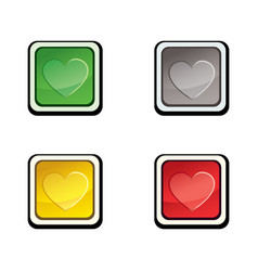 Button set icon design elements with love heart vector