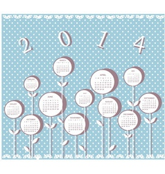Calendar for 2014 year with flowers vector