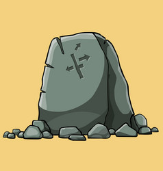 Cartoon big stone pointer with painted arrows vector