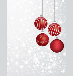 christmas balls with a snowflake vector image