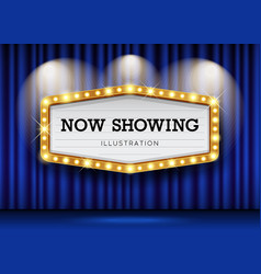 cinema theater blue curtains and sign light up vector image