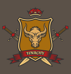 Coat of arms with bull head vector