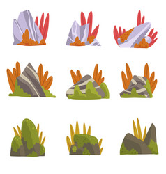 Collection rock stones with moss and grass vector