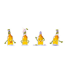 cute beer bottle character in different poses vector image