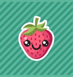 Cute kawaii smiling strawberry fruit cartoon icon vector