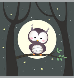 cute owl sitting on a tree branch vector image
