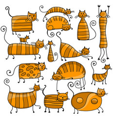 cute striped cats family sketch for your design vector image