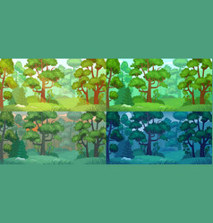 Daytimes forest landscape forest trees sun vector