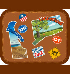 Delaware connecticut travel stickers vector