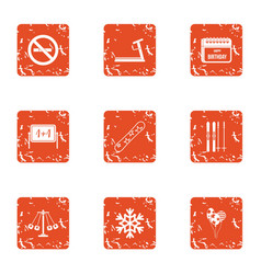 Echool reality icons set grunge style vector