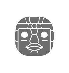 Ethnic tribal mask mayan aztec grey icon vector