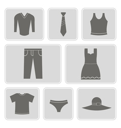 F monochrome icons with garments vector