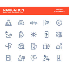 flat line icons design-navigation vector image