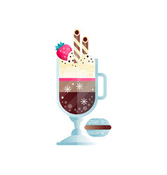Glass of chilled coffee with ice-cream and ripe vector