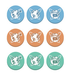 Global internet multicolored icons vector