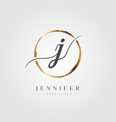 Gold elegant initial letter type j vector