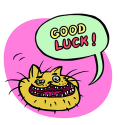 good luck cartoon cat head vector image