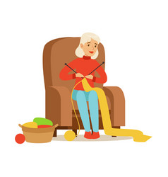 Grandmother knitting scarf sitting in a chair vector