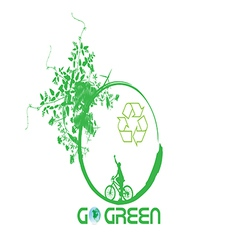 Green earth with bike reduce CO2 vector