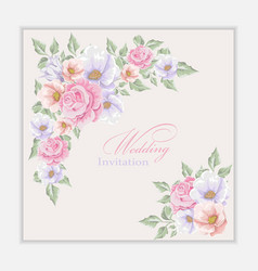Greeting card with bouquet flowers for wedding vector