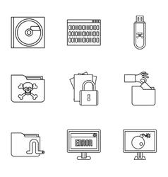 Hacking icons set outline style vector