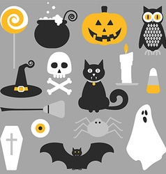 Halloween flat icons design vector