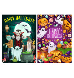 halloween party cartoon witches and dead monsters vector image