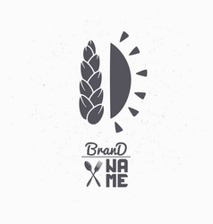 Hand drawn silhouette of wheat and sun vector