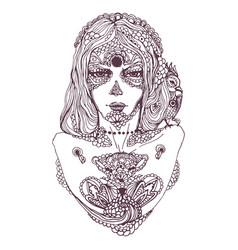 hand drawn sketch of dia de los muertos vector image