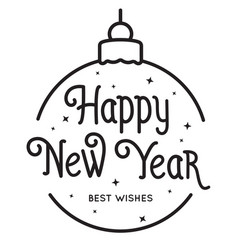 Happy new year text hand drawn lettering holiday vector