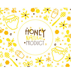 honey natural product banner template with apiary vector image