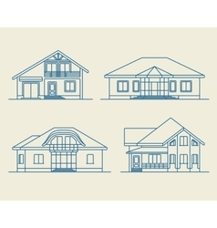 Houses linear 4 vector image