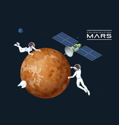 isometric astronauts in orbit mars and vector image