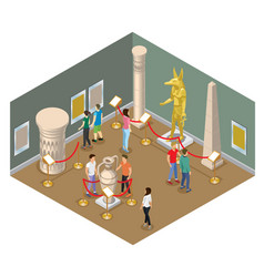 Isometric museum hall concept vector