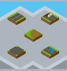 Isometric road set of crossroad plash turning vector