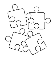 Jigsaw puzzles icon outline style vector