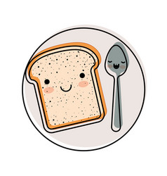Kawaii bread slice and spoon on dish in watercolor vector