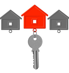 Key to the lock and key chain in the form of house vector