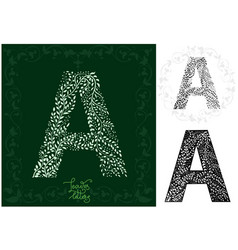 Leaves alphabet letter a vector