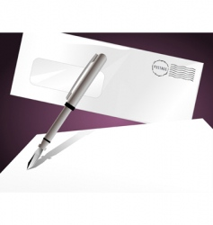 letter and pen vector image
