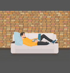 Man lying relaxing on the sofa couch and using vector