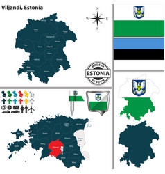 Map of viljandi estonia vector
