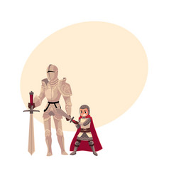 Medieval knight in decorated metal suit and armor vector