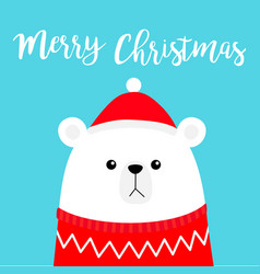 Merry christmas polar white bear cub head face vector