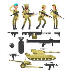 Military soldiers with ammunition guns vector