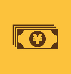 money icon yen and cash coin currency bank vector image