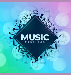 music festival background with notes frame vector image